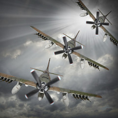 Dramatic scene on the sky. Old bombers inbound from sun.