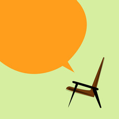 Vector brown armchair on a light background