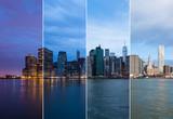 Fototapety Montage of Manhattan skyline night to day - New york - USA