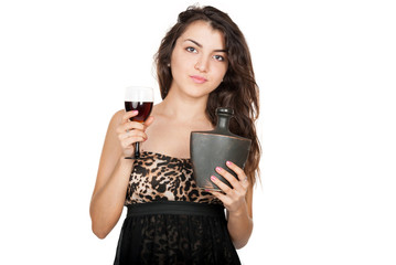 Nice young woman with alcoholic drink