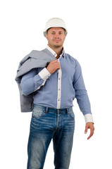 Workman or builder pointing up to blank copyspace