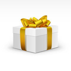 White Gift Box with Yellow Gold Ribbon Isolated