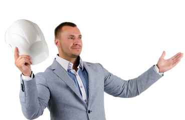 Open Armed Middle Age Engineer Holding Helmet