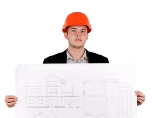 Young Engineer in Orange Helmet Showing Blueprint