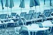 Leinwanddruck Bild - Sun loungers , perfect vacation concept.