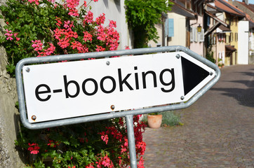E-booking sign on the street