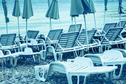 Leinwanddruck Bild Sun loungers , perfect vacation concept.