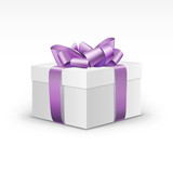 Fototapety White Gift Box with Light Purple Violet Ribbon