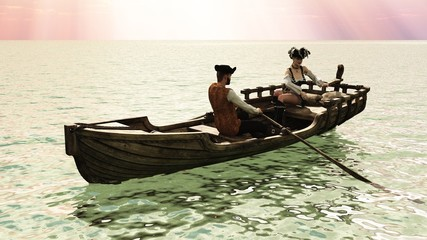 Pirate couple in rowboat