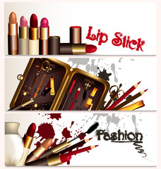 Fashion business cards set with cosmetic accessories