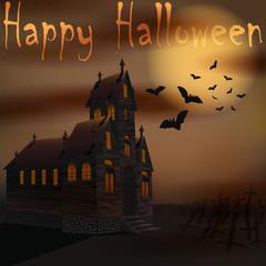 Halloween creepy house with bats near cemetery