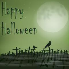 Halloween cemetery moon ravens