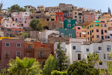colorful houses on the hill in Guanajuato
