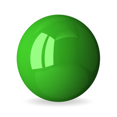 Green shiny sphere isolated