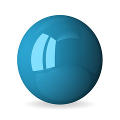 Blue shiny sphere isolated