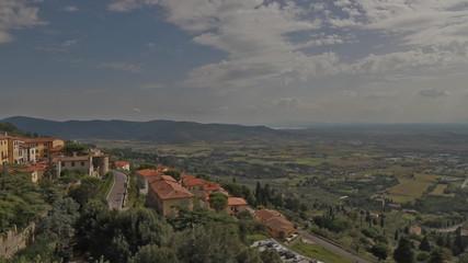 Val di Chiana overview from Cortona; Tuscany, Italy