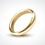 Vector Gold Wedding Ring Isolated
