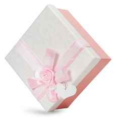 gift box with light pink bow isolated on the white background