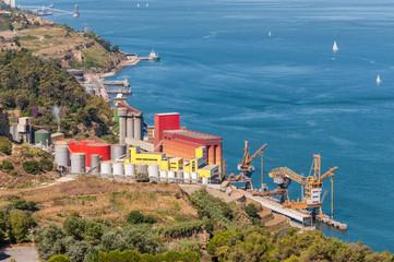 Storage silos in industrial zone