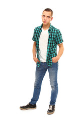 full-length portrait of a young guy , isolated on white backgro