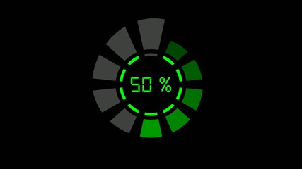 progress bar - digital, radial, 2 wheels, green on black