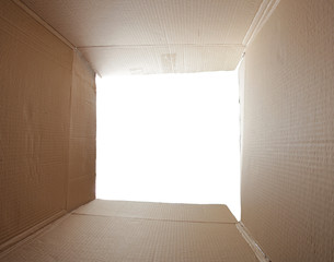Empty cardboard box isolated on the white