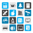 Silhouette Education and school objects icons