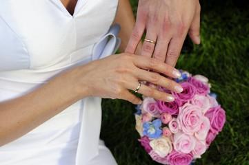 bridal, bride, bouqet, flowers, hands, love, rings, wedding