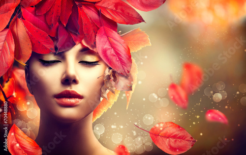 canvas print picture Autumn Woman. Fall. Girl with colourful autumn leaves hairstyle
