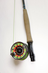 Fly fishing rod and reel filled with line