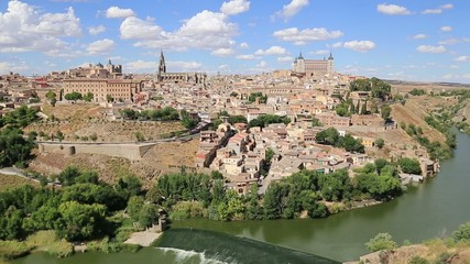 View of Toledo With Alcazar On Top,Medieval Town,Spain.