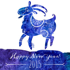 Watercolor pattern goat. Chinese astrological sign. New Year