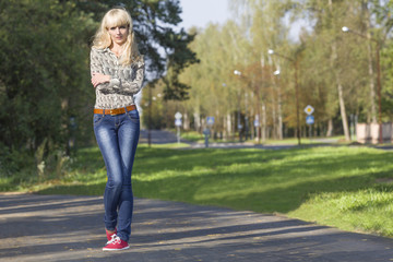 Beautiful young girl on a walk in the Park