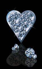 Brilliant poker card hearts, vector illustration