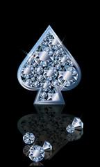 Brilliant poker card spades, vector illustration