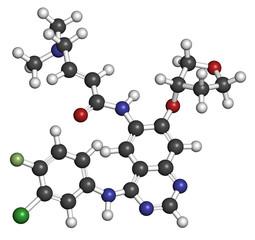 Afatinib cancer drug molecule. Angiokinase inhibitor.