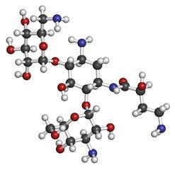 Amikacin aminoglycoside antibiotic molecule.