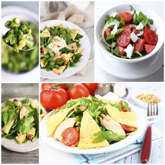 Collage of tasty salads