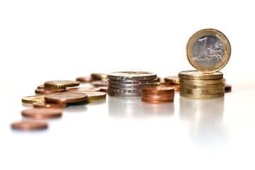 Münzen Gestapelt - Ein Euro/ Cent / Eurocent