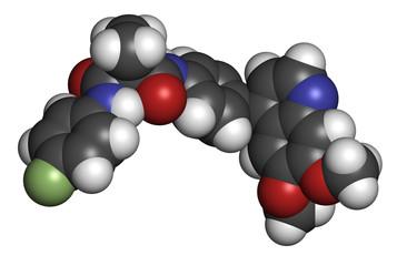 Cabozantinib cancer drug molecule. Inhibitor of c-Met and VEGFR2