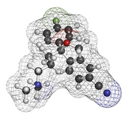 Citalopram anti-depressant drug molecule.