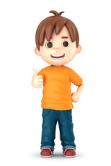 3D render of a boy showing ok sign