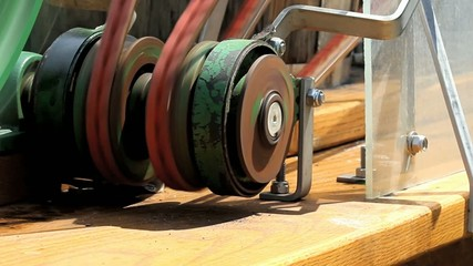 Two Belts Run By One Pulley Closeup