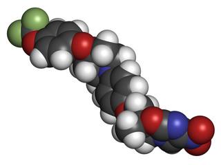 Delamanid tuberculosis drug molecule.