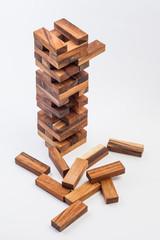 wood game (jenga). on white background.