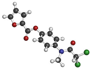 Diloxanide furoate amoebiasis drug molecule.