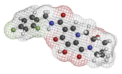 Dolutegravir HIV drug molecule. Integrase inhibitor antiviral.
