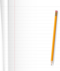 Notebook and yellow pencil on white background .Vector file