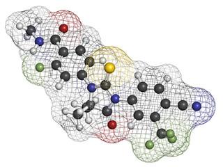 Enzalutamide prostate cancer drug molecule.