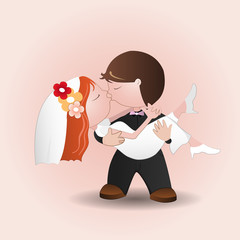 Marriage.Illustration Cartoon groom and bride wedding kiss